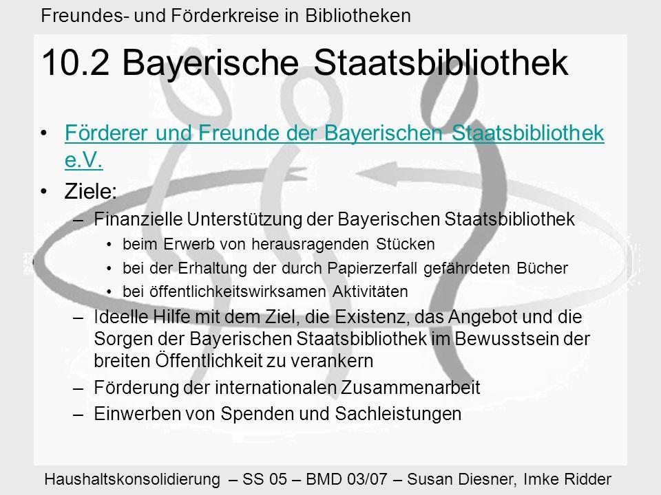 Haushaltskonsolidierung – SS 05 – BMD 03/07 – Susan Diesner, Imke Ridder Freundes- und Förderkreise in Bibliotheken 10.2 Bayerische Staatsbibliothek Förderer und Freunde der Bayerischen Staatsbibliothek e.V.Förderer und Freunde der Bayerischen Staatsbibliothek e.V.