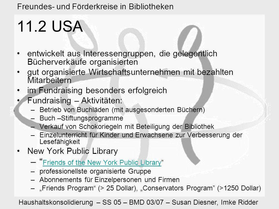 Haushaltskonsolidierung – SS 05 – BMD 03/07 – Susan Diesner, Imke Ridder Freundes- und Förderkreise in Bibliotheken 11.2 USA entwickelt aus Interessengruppen, die gelegentlich Bücherverkäufe organisierten gut organisierte Wirtschaftsunternehmen mit bezahlten Mitarbeitern im Fundraising besonders erfolgreich Fundraising – Aktivitäten: –Betrieb von Buchläden (mit ausgesonderten Büchern) –Buch –Stiftungsprogramme –Verkauf von Schokoriegeln mit Beteiligung der Bibliothek –Einzelunterricht für Kinder und Erwachsene zur Verbesserung der Lesefähigkeit New York Public Library – Friends of the New York Public Library Friends of the New York Public Library –professionellste organisierte Gruppe –Abonnements für Einzelpersonen und Firmen –Friends Program (> 25 Dollar), Conservators Program (>1250 Dollar)