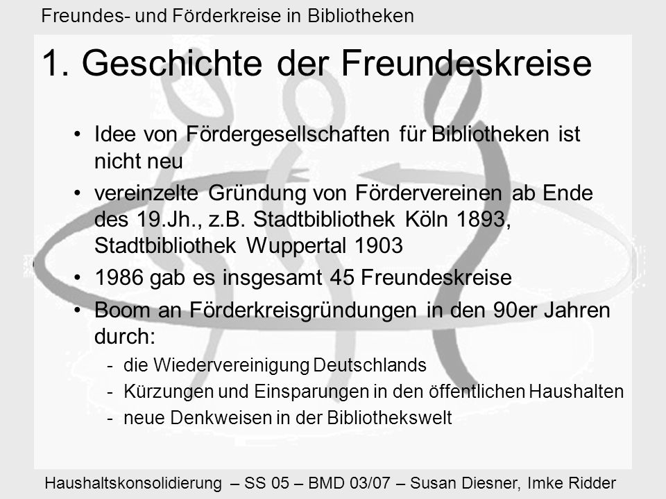 Haushaltskonsolidierung – SS 05 – BMD 03/07 – Susan Diesner, Imke Ridder Freundes- und Förderkreise in Bibliotheken 10.2 Bayerische Staatsbibliothek Vorteile als Vereinsmitglied: –Führungen mit Einblick in die Abteilungen der Bayerischen Staatsbibliothek –Ausstellungen: Einladung zur Eröffnungsveranstaltung, Führungen speziell für Mitglieder –Freier Eintritt zu Vortragsveranstaltungen der Bayerischen Staatsbibliothek –Gratis: Jahresbericht, Jahresgabe –Einladungen zu kulturellen Ereignissen, die vom Verein bzw.