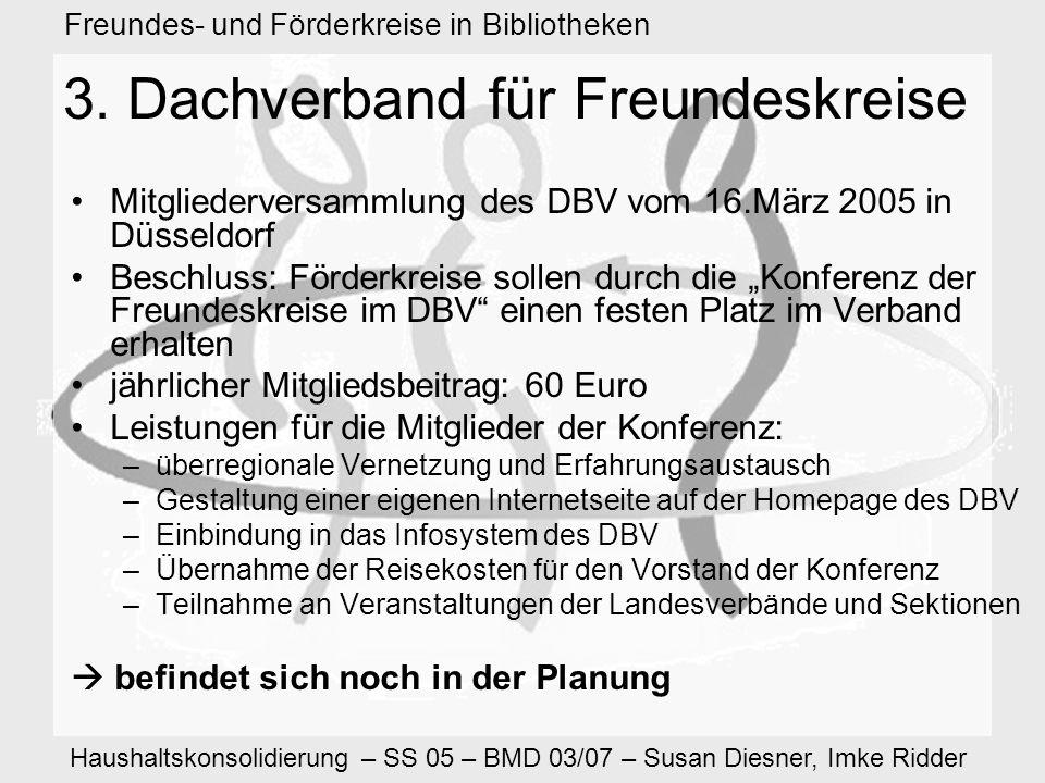 Haushaltskonsolidierung – SS 05 – BMD 03/07 – Susan Diesner, Imke Ridder Freundes- und Förderkreise in Bibliotheken 11.
