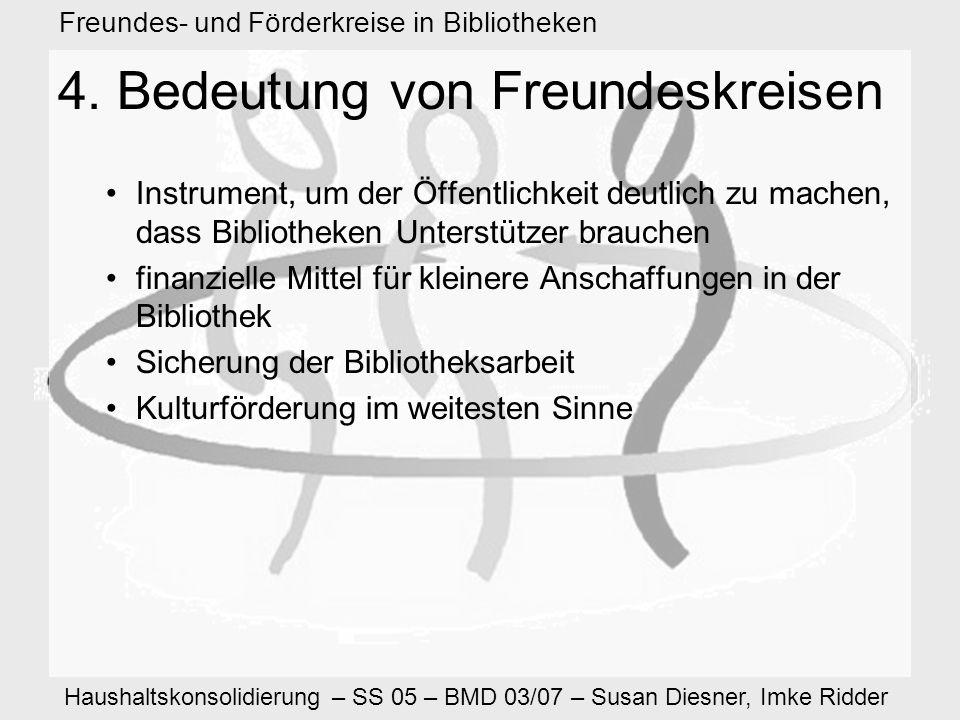 Haushaltskonsolidierung – SS 05 – BMD 03/07 – Susan Diesner, Imke Ridder Freundes- und Förderkreise in Bibliotheken 4.