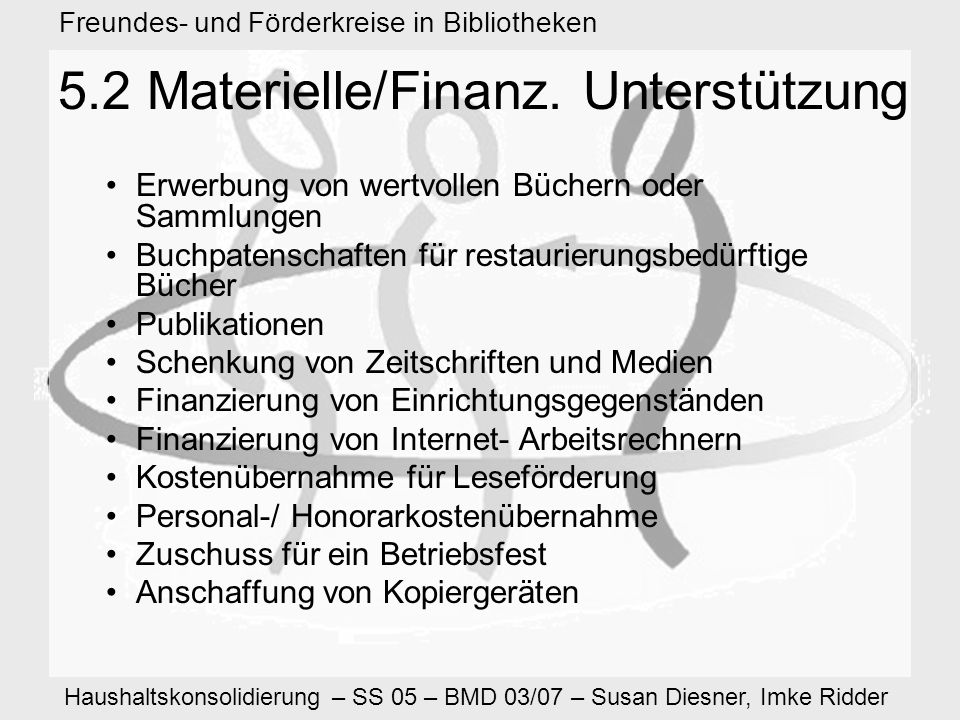 Haushaltskonsolidierung – SS 05 – BMD 03/07 – Susan Diesner, Imke Ridder Freundes- und Förderkreise in Bibliotheken 5.2 Materielle/Finanz.