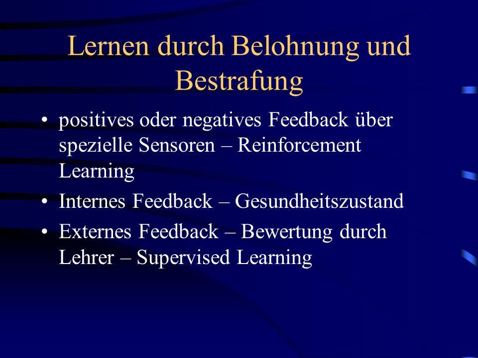 Lernen durch Belohnung und Bestrafung positives oder negatives Feedback über spezielle Sensoren – Reinforcement Learning Internes Feedback – Gesundhei