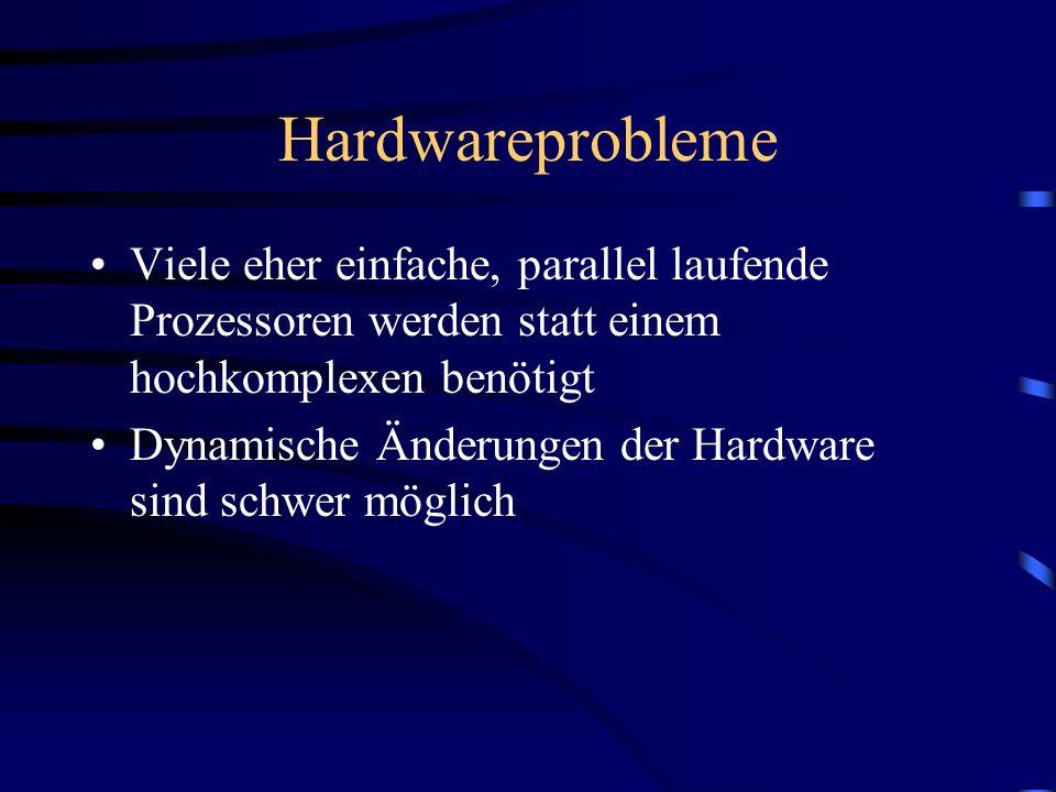 Hardwareprobleme Viele eher einfache, parallel laufende Prozessoren werden statt einem hochkomplexen benötigt Dynamische Änderungen der Hardware sind