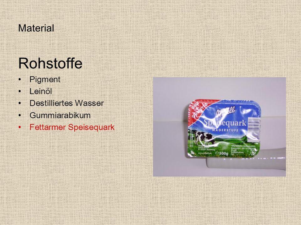 Material Rohstoffe Pigment Leinöl Destilliertes Wasser Gummiarabikum Fettarmer Speisequark