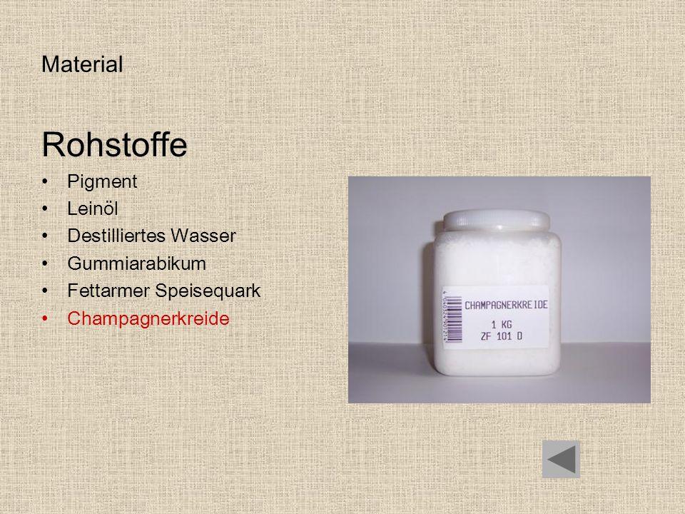 Material Rohstoffe Pigment Leinöl Destilliertes Wasser Gummiarabikum Fettarmer Speisequark Champagnerkreide