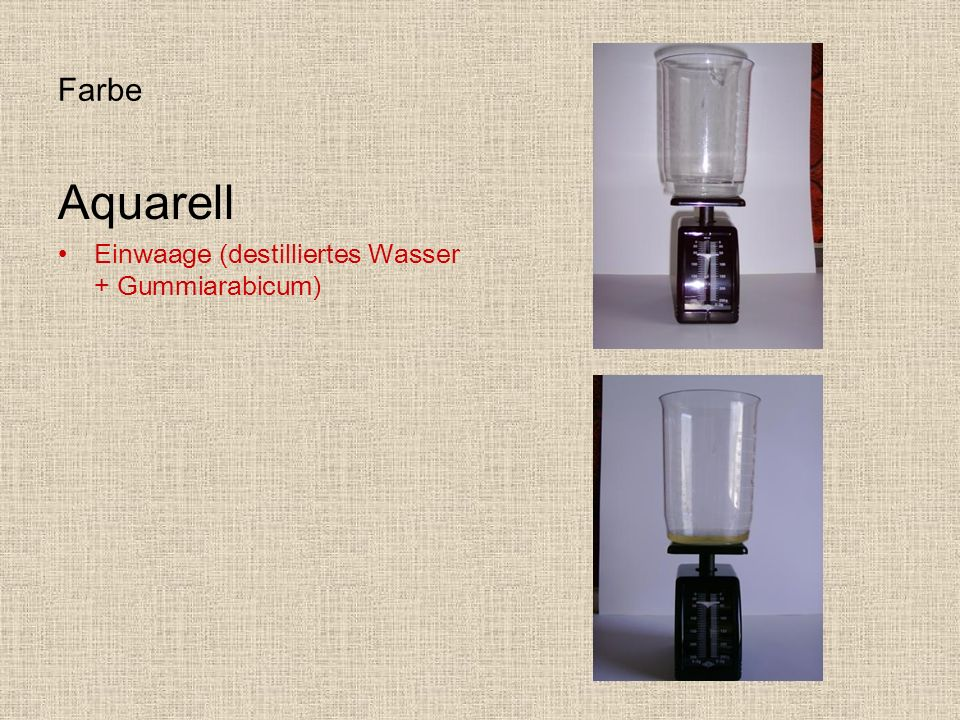 Farbe Aquarell Einwaage (destilliertes Wasser + Gummiarabicum)