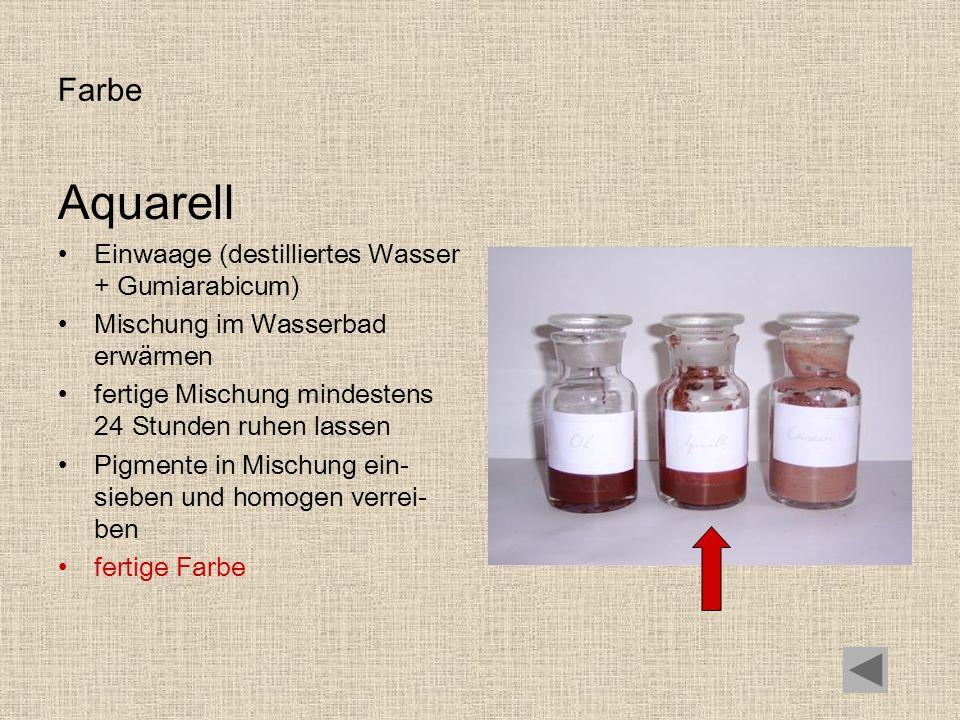 Farbe Aquarell Einwaage (destilliertes Wasser + Gumiarabicum) Mischung im Wasserbad erwärmen fertige Mischung mindestens 24 Stunden ruhen lassen Pigme