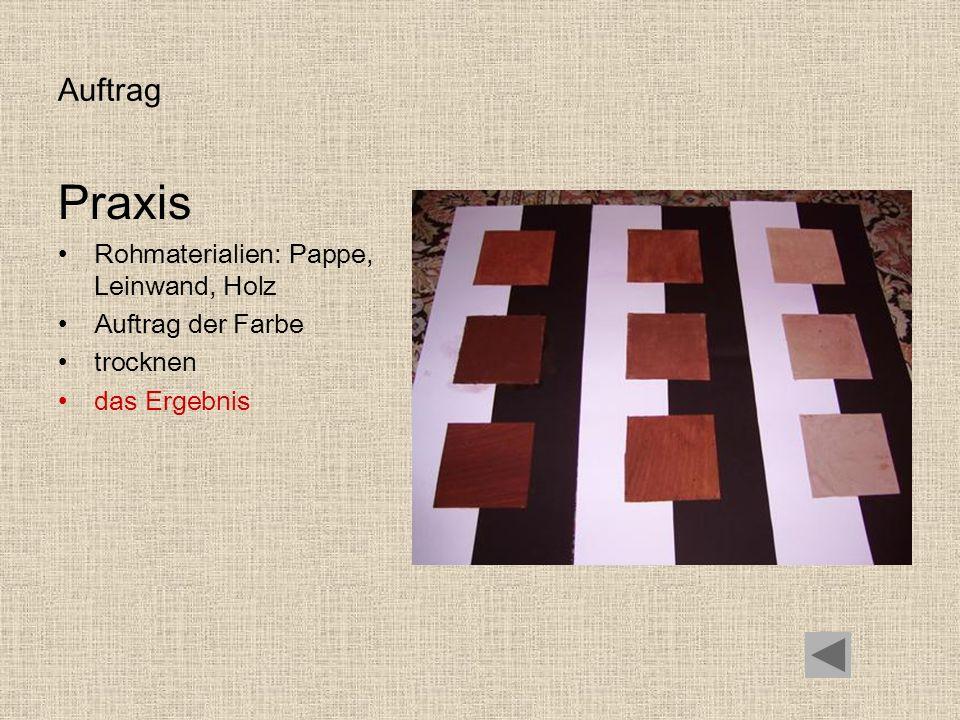 Auftrag Praxis Rohmaterialien: Pappe, Leinwand, Holz Auftrag der Farbe trocknen das Ergebnis
