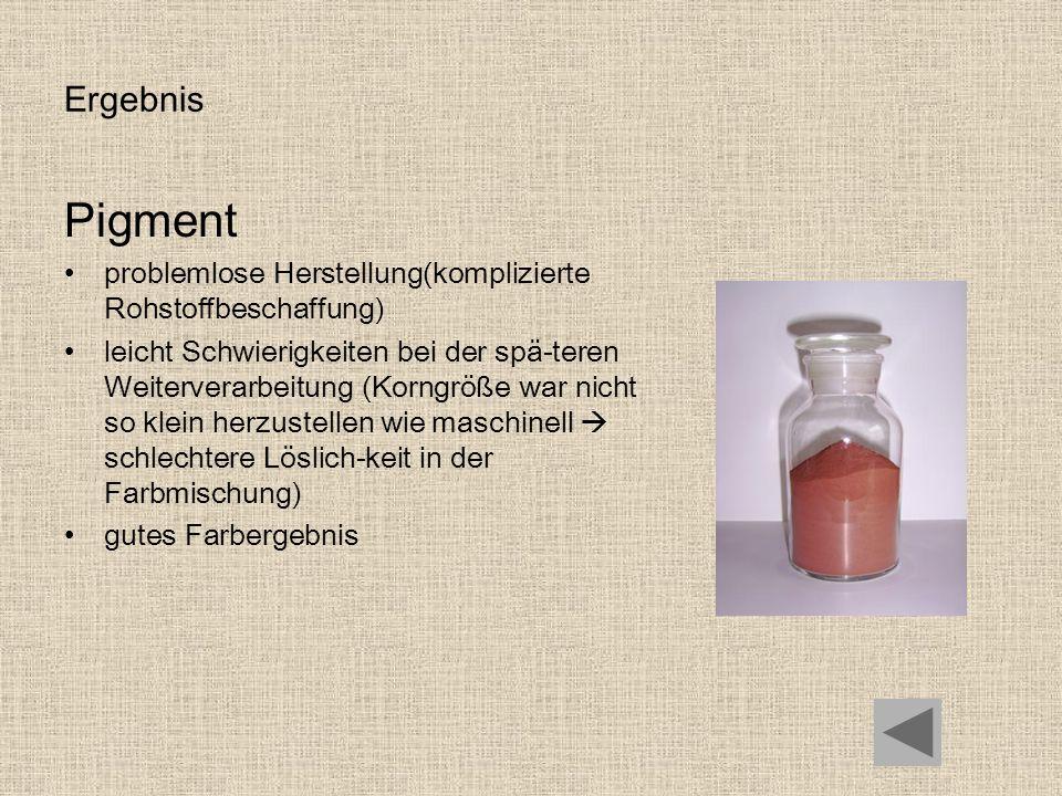 Ergebnis Pigment problemlose Herstellung(komplizierte Rohstoffbeschaffung) leicht Schwierigkeiten bei der spä-teren Weiterverarbeitung (Korngröße war