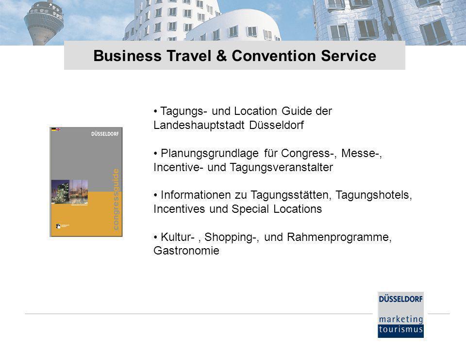 Tagungs- und Location Guide der Landeshauptstadt Düsseldorf Planungsgrundlage für Congress-, Messe-, Incentive- und Tagungsveranstalter Informationen zu Tagungsstätten, Tagungshotels, Incentives und Special Locations Kultur-, Shopping-, und Rahmenprogramme, Gastronomie