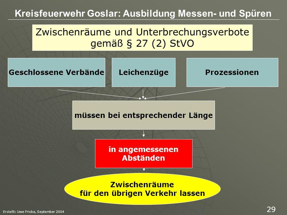 Kreisfeuerwehr Goslar: Ausbildung Messen- und Spüren Erstellt: Uwe Fricke, September 2004 29 Zwischenräume und Unterbrechungsverbote gemäß § 27 (2) St