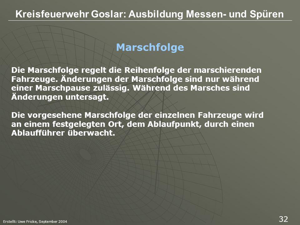 Kreisfeuerwehr Goslar: Ausbildung Messen- und Spüren Erstellt: Uwe Fricke, September 2004 32 Die Marschfolge regelt die Reihenfolge der marschierenden