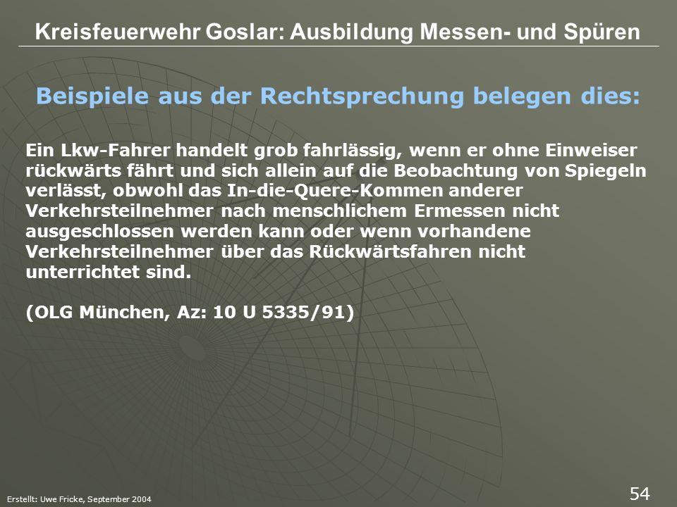Kreisfeuerwehr Goslar: Ausbildung Messen- und Spüren Erstellt: Uwe Fricke, September 2004 54 Beispiele aus der Rechtsprechung belegen dies: Ein Lkw-Fa