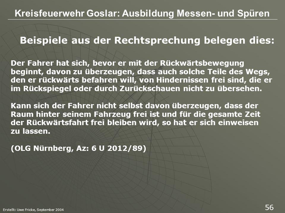 Kreisfeuerwehr Goslar: Ausbildung Messen- und Spüren Erstellt: Uwe Fricke, September 2004 56 Beispiele aus der Rechtsprechung belegen dies: Der Fahrer