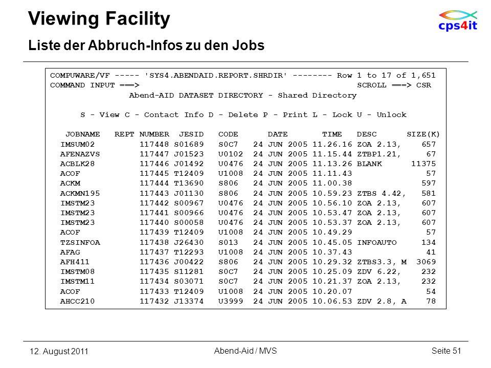 Viewing Facility Liste der Abbruch-Infos zu den Jobs 12. August 2011Seite 51Abend-Aid / MVS COMPUWARE/VF ----- 'SYS4.ABENDAID.REPORT.SHRDIR' --------