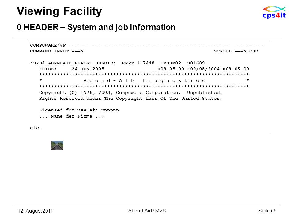 Viewing Facility 0 HEADER – System and job information 12. August 2011Seite 55Abend-Aid / MVS COMPUWARE/VF -------------------------------------------