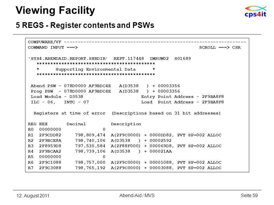 Viewing Facility 5 REGS - Register contents and PSWs 12. August 2011Seite 59Abend-Aid / MVS COMPUWARE/VF ---------------------------------------------