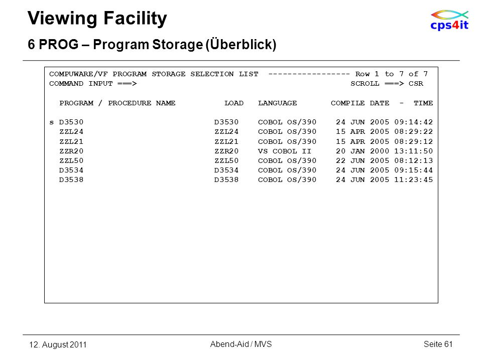 Viewing Facility 6 PROG – Program Storage (Überblick) 12. August 2011Seite 61Abend-Aid / MVS COMPUWARE/VF PROGRAM STORAGE SELECTION LIST -------------