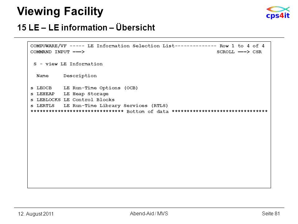 Viewing Facility 15 LE – LE information – Übersicht 12. August 2011Seite 81Abend-Aid / MVS COMPUWARE/VF ----- LE Information Selection List-----------
