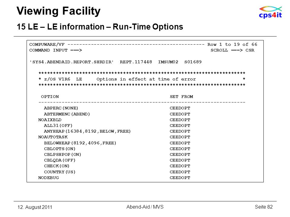 Viewing Facility 15 LE – LE information – Run-Time Options 12. August 2011Seite 82Abend-Aid / MVS COMPUWARE/VF ---------------------------------------