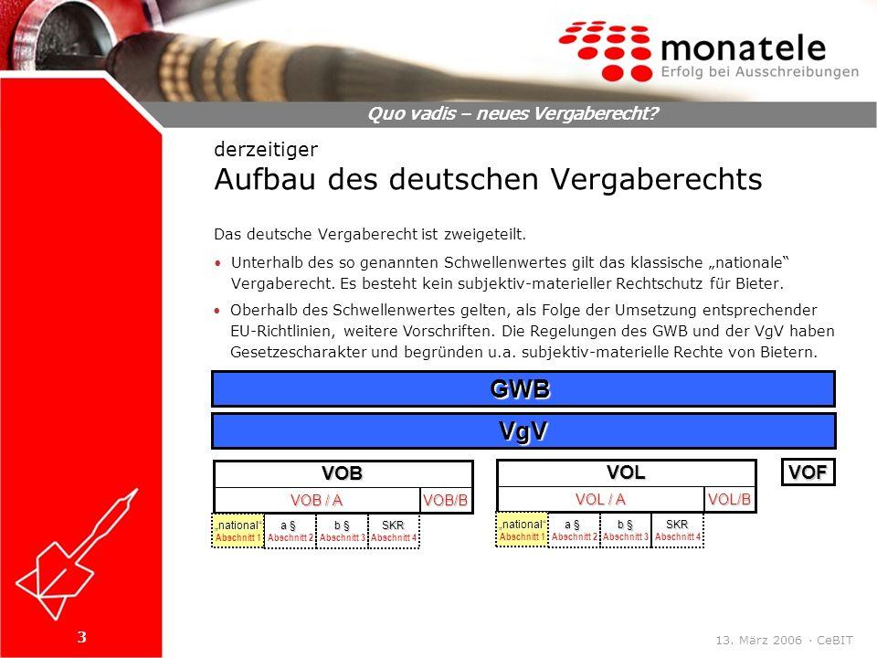3 Quo vadis – neues Vergaberecht. 13. März 2006 · CeBIT Das deutsche Vergaberecht ist zweigeteilt.