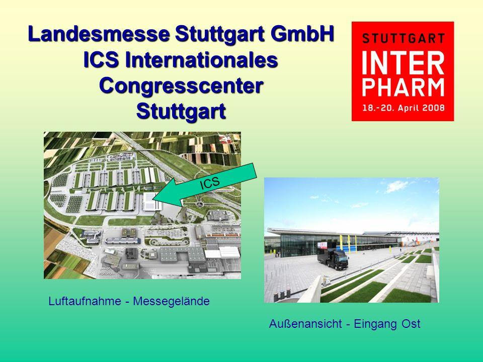 DAV Landesmesse Stuttgart GmbH ICS Internationales Congresscenter Stuttgart Luftaufnahme - Messegelände Außenansicht - Eingang Ost ICS