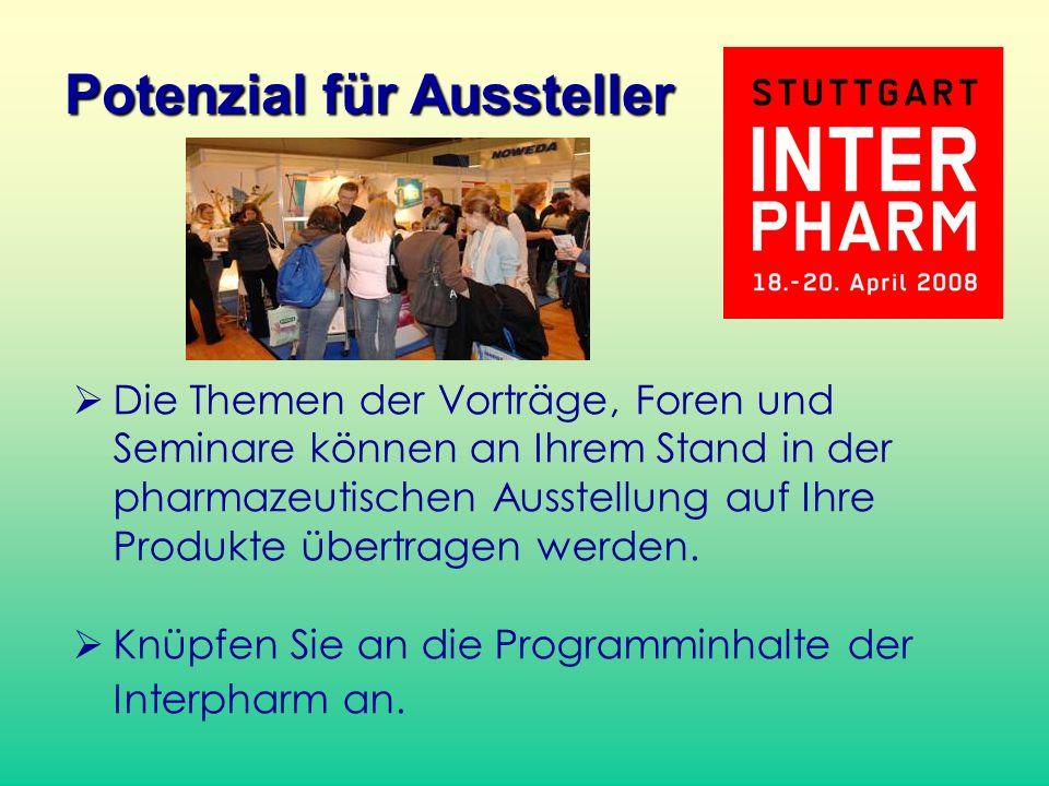 Die Themen der Vorträge, Foren und Seminare können an Ihrem Stand in der pharmazeutischen Ausstellung auf Ihre Produkte übertragen werden.