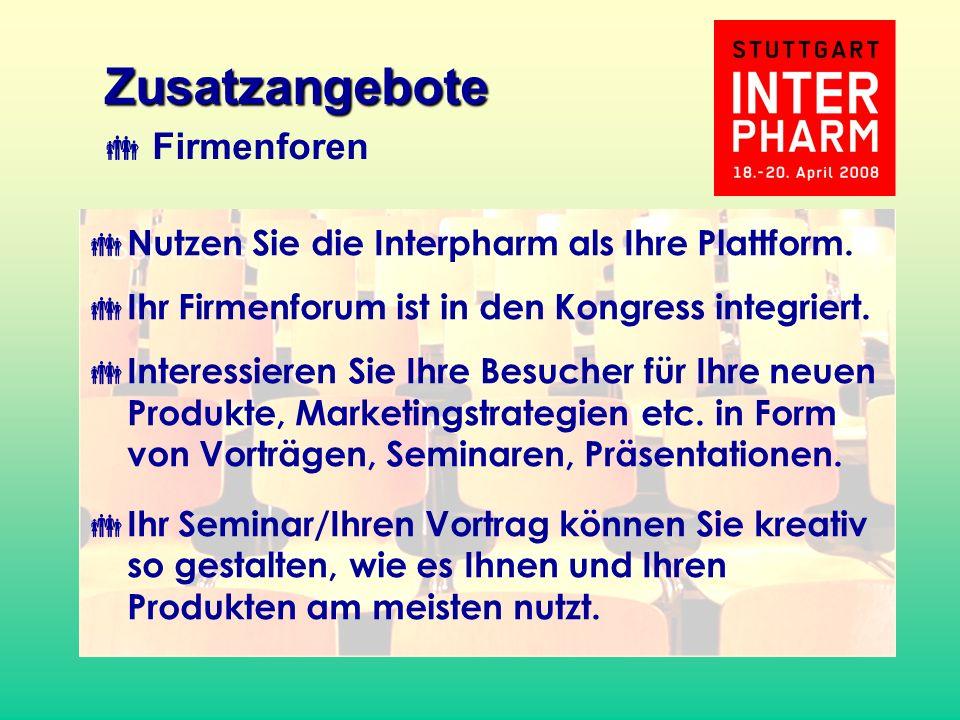 Nutzen Sie die Interpharm als Ihre Plattform. Ihr Firmenforum ist in den Kongress integriert. Interessieren Sie Ihre Besucher für Ihre neuen Produkte,