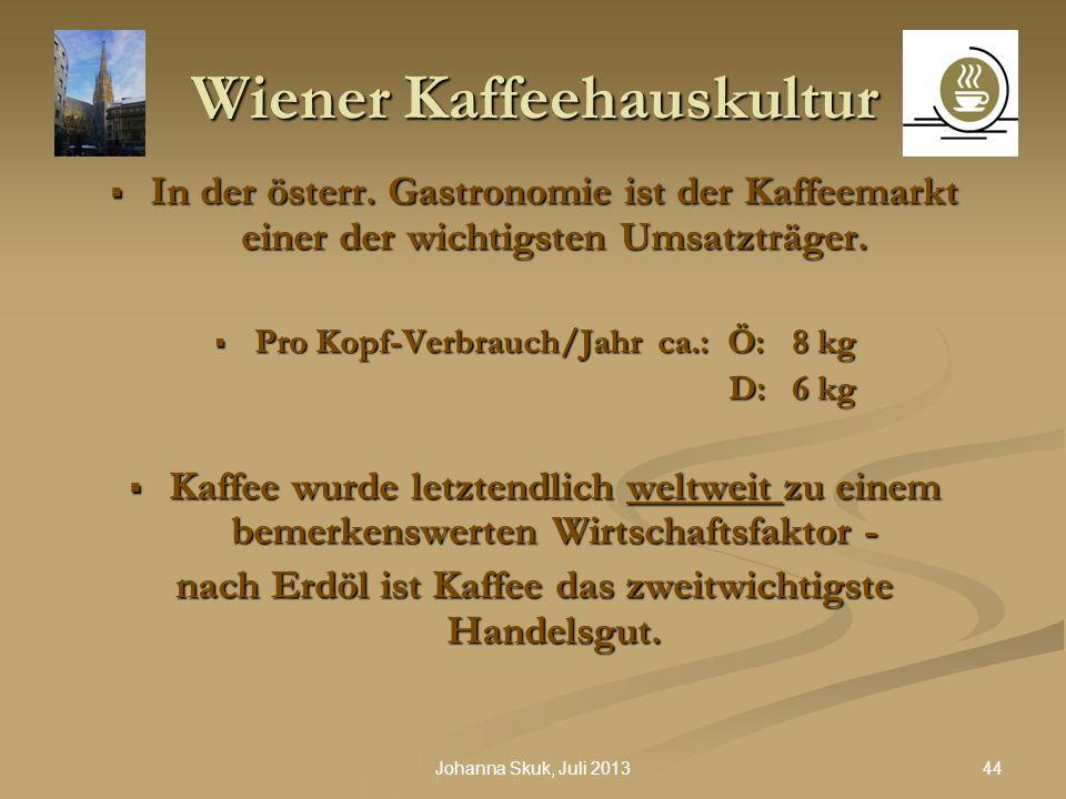 44Johanna Skuk, Juli 2013 Wiener Kaffeehauskultur In der österr. Gastronomie ist der Kaffeemarkt einer der wichtigsten Umsatzträger. In der österr. Ga