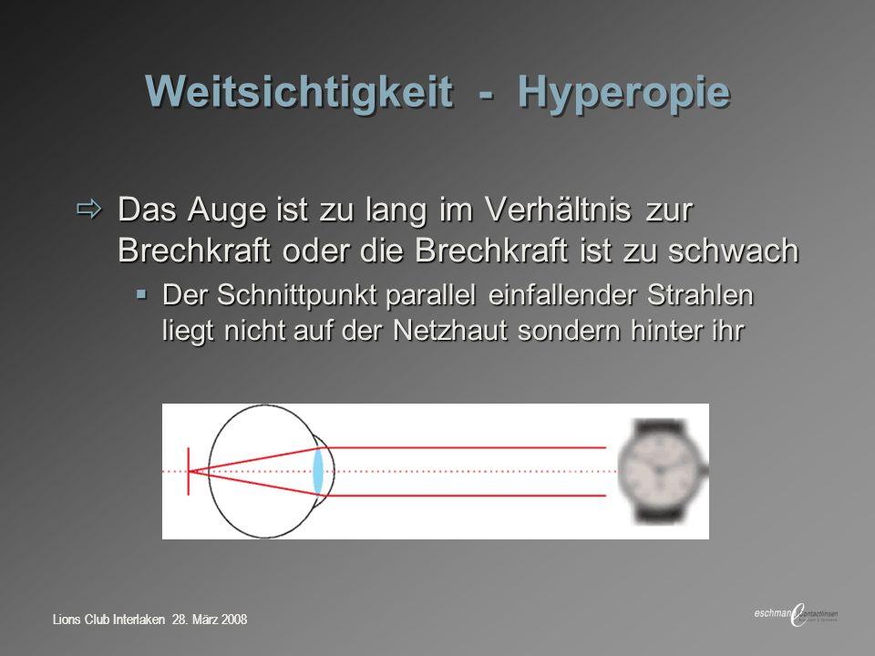 Lions Club Interlaken 28. März 2008 Weitsichtigkeit - Hyperopie Das Auge ist zu lang im Verhältnis zur Brechkraft oder die Brechkraft ist zu schwach D