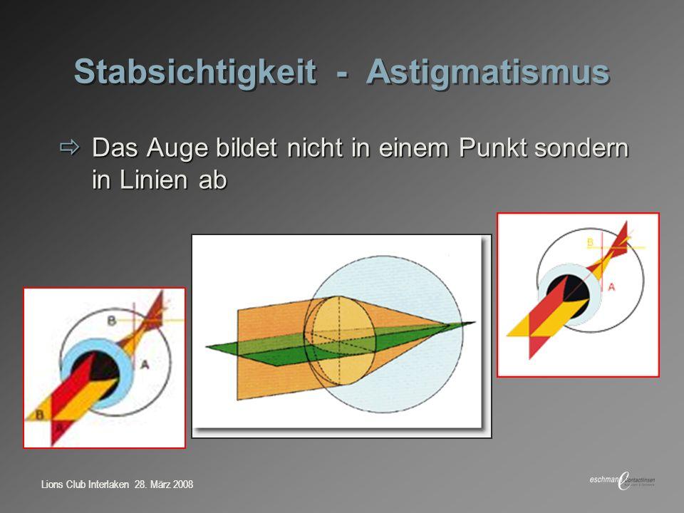 Lions Club Interlaken 28. März 2008 Stabsichtigkeit - Astigmatismus Das Auge bildet nicht in einem Punkt sondern in Linien ab Das Auge bildet nicht in