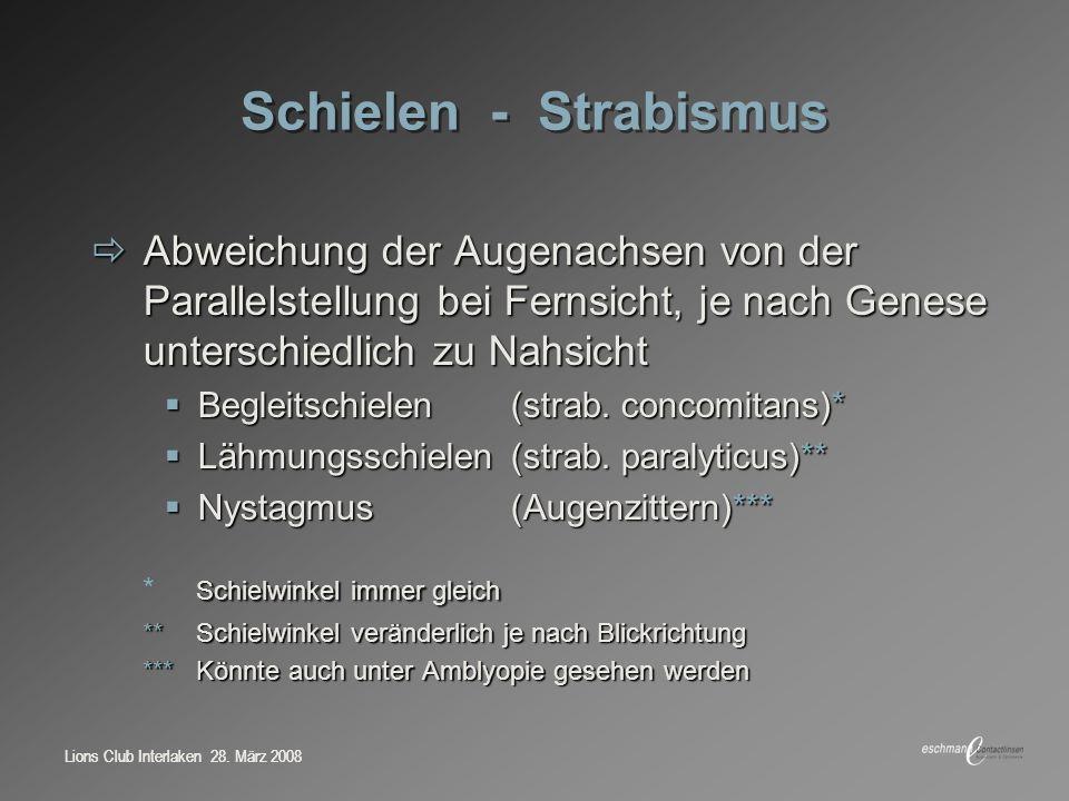 Lions Club Interlaken 28. März 2008 Schielen - Strabismus Abweichung der Augenachsen von der Parallelstellung bei Fernsicht, je nach Genese unterschie