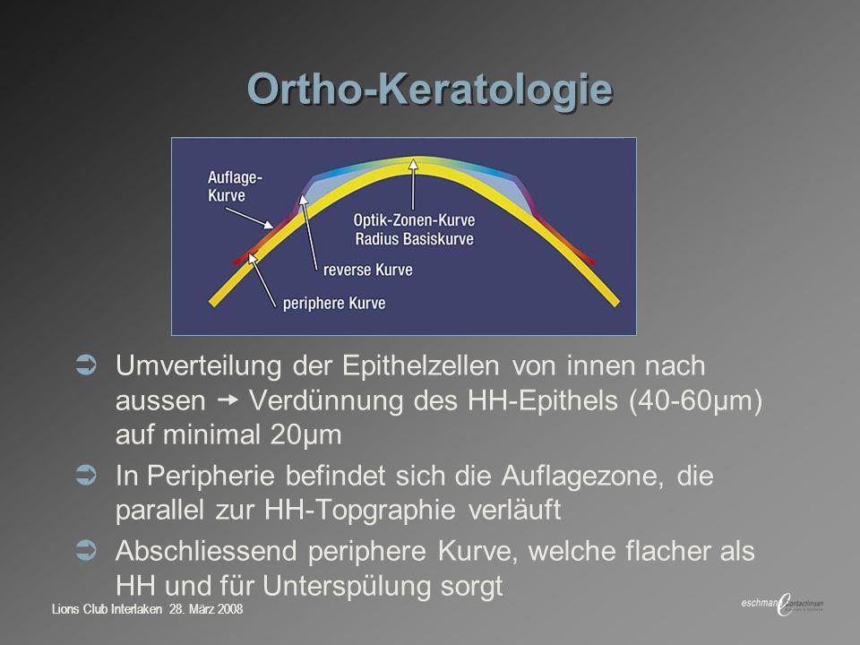 Lions Club Interlaken 28. März 2008 Ortho-Keratologie Umverteilung der Epithelzellen von innen nach aussen Verdünnung des HH-Epithels (40-60μm) auf mi