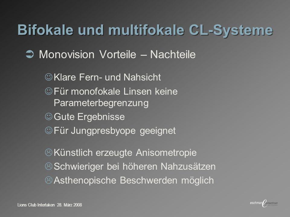 Lions Club Interlaken 28. März 2008 Bifokale und multifokale CL-Systeme Monovision Vorteile – Nachteile Klare Fern- und Nahsicht Für monofokale Linsen