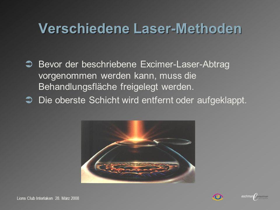 Lions Club Interlaken 28. März 2008 Verschiedene Laser-Methoden Bevor der beschriebene Excimer-Laser-Abtrag vorgenommen werden kann, muss die Behandlu