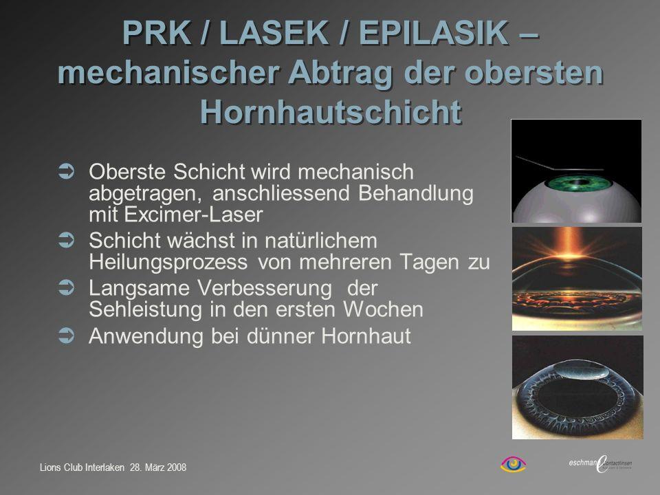 Lions Club Interlaken 28. März 2008 PRK / LASEK / EPILASIK – mechanischer Abtrag der obersten Hornhautschicht Oberste Schicht wird mechanisch abgetrag
