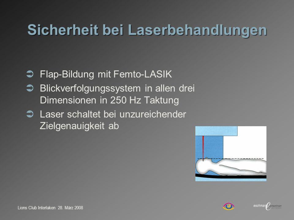 Lions Club Interlaken 28. März 2008 Sicherheit bei Laserbehandlungen Flap-Bildung mit Femto-LASIK Blickverfolgungssystem in allen drei Dimensionen in