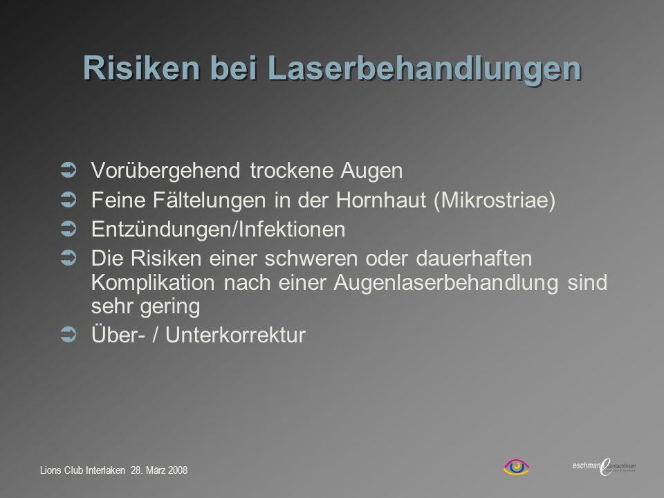 Lions Club Interlaken 28. März 2008 Risiken bei Laserbehandlungen Vorübergehend trockene Augen Feine Fältelungen in der Hornhaut (Mikrostriae) Entzünd