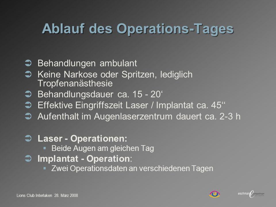 Lions Club Interlaken 28. März 2008 Ablauf des Operations-Tages Behandlungen ambulant Keine Narkose oder Spritzen, lediglich Tropfenanästhesie Behandl