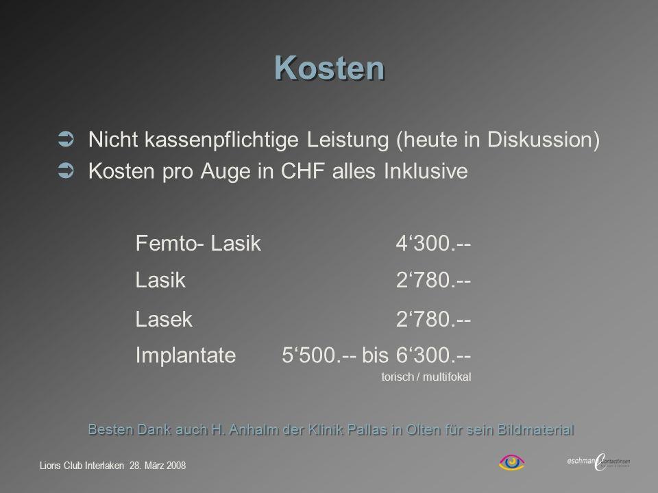 Lions Club Interlaken 28. März 2008 Kosten Nicht kassenpflichtige Leistung (heute in Diskussion) Kosten pro Auge in CHF alles Inklusive Femto- Lasik43