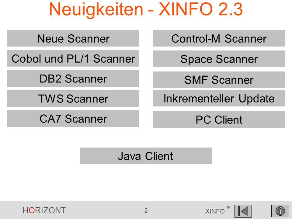 HORIZONT 2 XINFO ® Neuigkeiten - XINFO 2.3 TWS Scanner Cobol und PL/1 Scanner DB2 Scanner Neue Scanner CA7 Scanner Control-M Scanner Space Scanner Ink