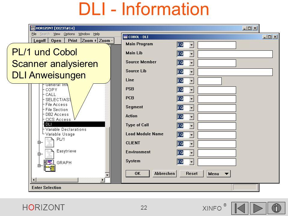 HORIZONT 22 XINFO ® DLI - Information PL/1 und Cobol Scanner analysieren DLI Anweisungen