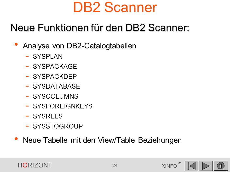 HORIZONT 24 XINFO ® DB2 Scanner Analyse von DB2-Catalogtabellen - SYSPLAN - SYSPACKAGE - SYSPACKDEP - SYSDATABASE - SYSCOLUMNS - SYSFOREIGNKEYS - SYSR