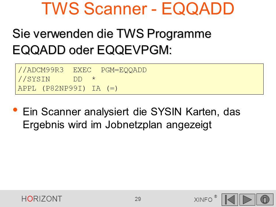 HORIZONT 29 XINFO ® TWS Scanner - EQQADD //ADCM99R3EXECPGM=EQQADD //SYSINDD * APPL (P82NP99I) IA (=) Ein Scanner analysiert die SYSIN Karten, das Erge