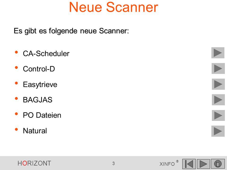 HORIZONT 3 XINFO ® Neue Scanner CA-Scheduler Control-D Easytrieve BAGJAS PO Dateien Natural Es gibt es folgende neue Scanner: