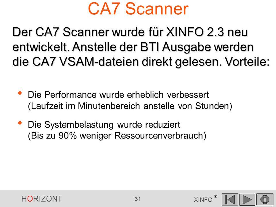 HORIZONT 31 XINFO ® CA7 Scanner Die Performance wurde erheblich verbessert (Laufzeit im Minutenbereich anstelle von Stunden) Die Systembelastung wurde