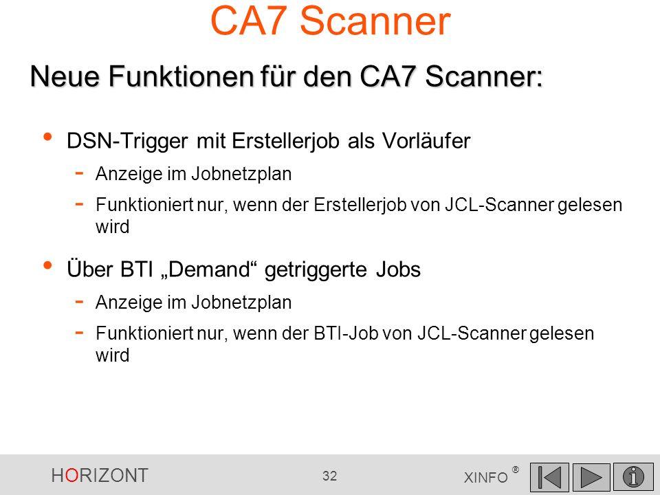 HORIZONT 32 XINFO ® CA7 Scanner DSN-Trigger mit Erstellerjob als Vorläufer - Anzeige im Jobnetzplan - Funktioniert nur, wenn der Erstellerjob von JCL-