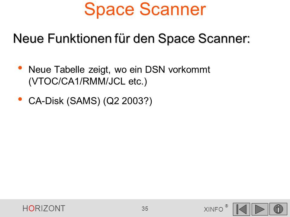 HORIZONT 35 XINFO ® Space Scanner Neue Tabelle zeigt, wo ein DSN vorkommt (VTOC/CA1/RMM/JCL etc.) CA-Disk (SAMS) (Q2 2003?) Neue Funktionen für den Sp