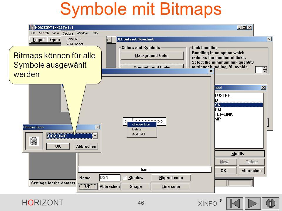 HORIZONT 46 XINFO ® Symbole mit Bitmaps Bitmaps können für alle Symbole ausgewählt werden